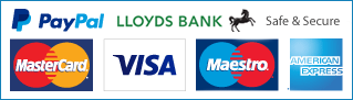 Secure payments with PayPal, Visa, Mastercard, Maestro, AMERICAN, EXPRESS, Lloyds Bank - Safe and Secure